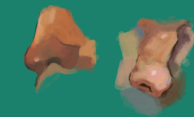 Zwei gemalte Nasen im Halbprofil auf türkisem Grund. Die Farbpalette ist kräftig, die Pinselstriche noch deutlich erkennbar.